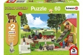 Farm World puzzle 60 db-os +2 db Schleich figura